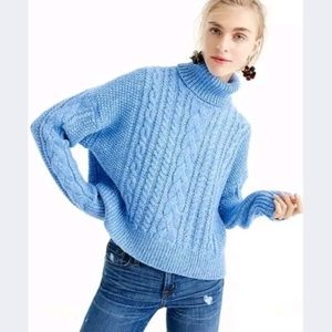 J. Crew Blue Chunky Cable Knit Turtleneck Sweater